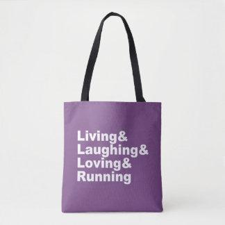 Bolsa Tote Living&Laughing&Loving&RUNNING (branco)