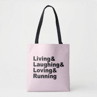 Bolsa Tote Living&Laughing&Loving&RUNNING (preto)