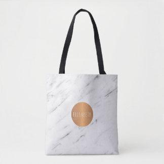 Bolsa Tote Livros geométricos de cobre de mármore brancos do