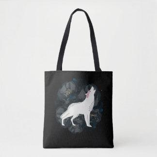 Bolsa Tote Lobo branco com a sacola preta dos rosas