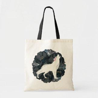 Bolsa Tote Lobo branco e sacola preta do orçamento dos rosas