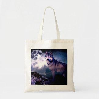Bolsa Tote Lobo da lua - lobo cinzento - lobo selvagem - lobo