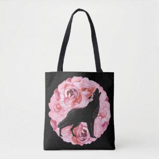 Bolsa Tote Lobo preto com a sacola cor-de-rosa dos rosas