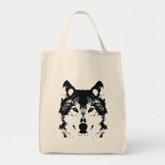 Bolsa Tote Lobo preto da ilustração