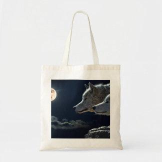 Bolsa Tote Lobos brancos na Lua cheia