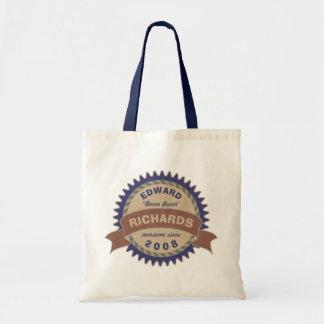 Bolsa Tote Logotipo azul do aniversário de Brown do monograma