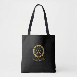 Bolsa Tote Logotipo do Hairstylist do brilho do ouro