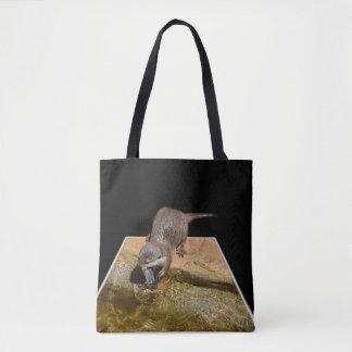 Bolsa Tote Lontra que come peixes saborosos, saco de compras