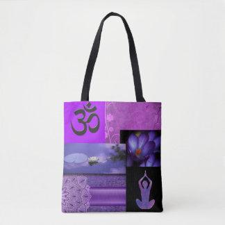 Bolsa Tote Lotus roxo & colagem da meditação de Chakra da