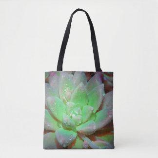 Bolsa Tote Lotus verde com gotas de orvalho
