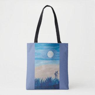 Bolsa Tote Lua azul na praia