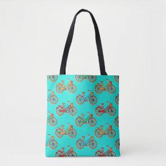 Bolsa Tote Luz - bicicleta azul por todo o lado na sacola do