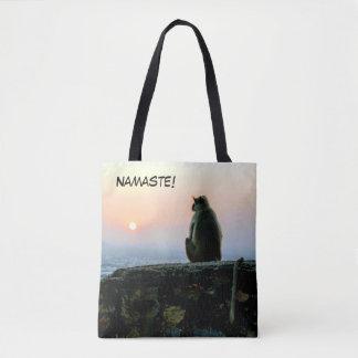Bolsa Tote Macaco da ioga da meditação de Namaste em India no