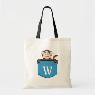 Bolsa Tote Macaco engraçado em um bolso Monogrammed