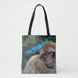 Bolsa Tote Macaco triste sobre segunda-feira