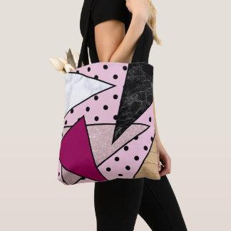 Bolsa Tote Madeira cor-de-rosa geométrica elegante do mármore