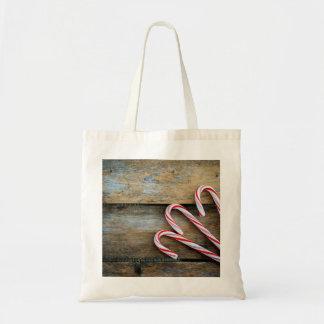 Bolsa Tote Madeira rústica com os bastões de doces do Natal