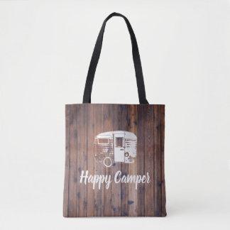 Bolsa Tote Madeira rústica de acampamento do campista feliz