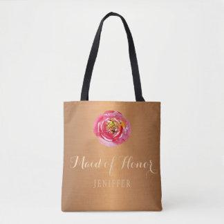 Bolsa Tote Madrinha de casamento cor-de-rosa do casamento do