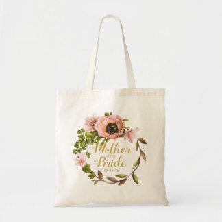 Bolsa Tote Mãe cor-de-rosa da grinalda da peônia da noiva
