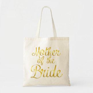 Bolsa Tote Mãe da noiva na sacola do Cursive do ouro