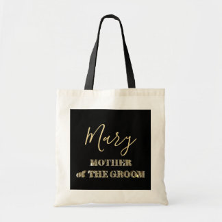 Bolsa Tote Mãe da tipografia do brilho do ouro do preto do