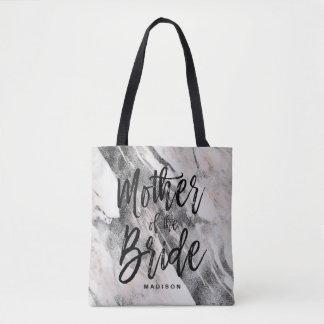 Bolsa Tote Mãe de mármore preta & cinzenta moderna da noiva