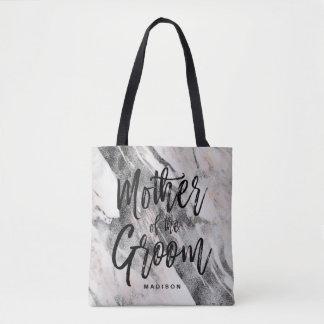 Bolsa Tote Mãe de mármore preta & cinzenta moderna do noivo