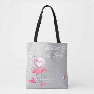 Bolsa Tote Mãe do lado do amor do flamingo da sacola da noiva