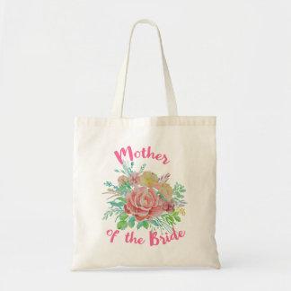 Bolsa Tote Mãe do presente floral da aguarela do vintage da