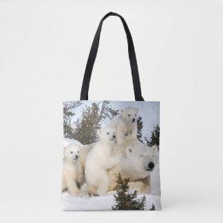 Bolsa Tote Mãe & filhotes do urso polar