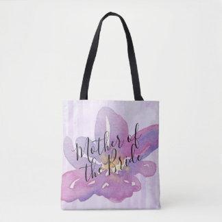 Bolsa Tote Mãe floral da lavanda violeta da aguarela da noiva