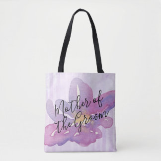 Bolsa Tote Mãe floral da lavanda violeta da aguarela do noivo