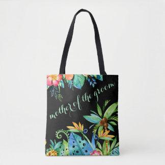 Bolsa Tote Mãe preta floral tropical do noivo
