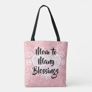 Bolsa Tote Mamã à adopção de muitos corações das bênçãos