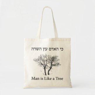 Bolsa Tote Man is Like a Tree, ancient and biblical slogan
