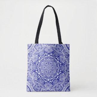 Bolsa Tote Mandala azul escuro de Mehndi