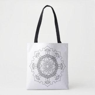 Bolsa Tote Mandala da flor. Elementos decorativos do vintage.