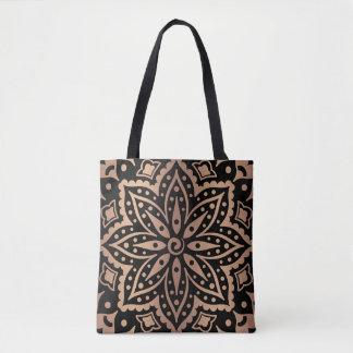Bolsa Tote mandala geométrica do Rosa-ouro