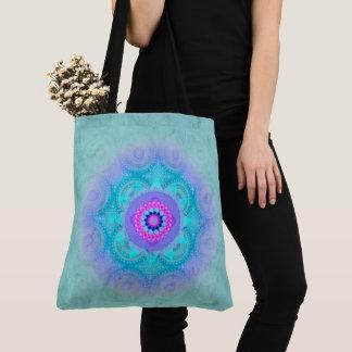 Bolsa Tote Mandala ID129 de turquesa da flor de Lotus