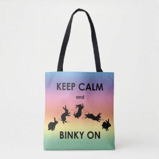 Bolsa Tote Mantenha a calma e o Binky no saco (o arco-íris)