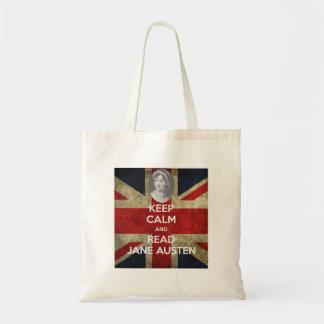 Bolsa Tote Mantenha calmo e leia Jane Austen
