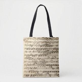 Bolsa Tote Manuscrito da música clássica com assinaturas dos