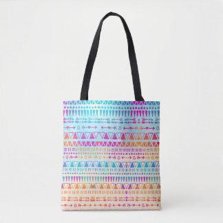 Bolsa Tote Mão colorida boémia étnica geométrica impressa