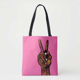 Bolsa Tote Mão do sinal de paz