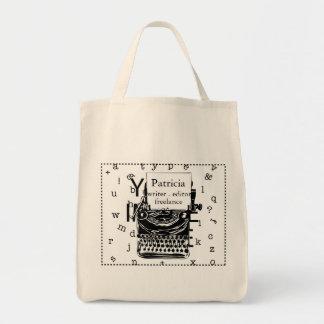 Bolsa Tote Mão moderna máquina de escrever tirada do vintage