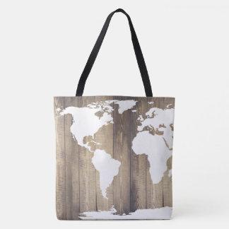 Bolsa Tote Mapa branco de madeira rústico do viajante de