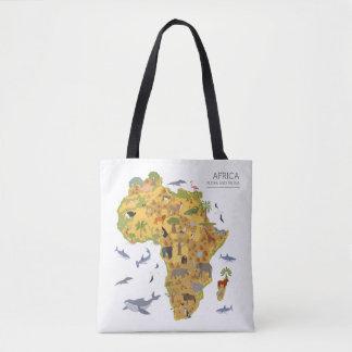 Bolsa Tote Mapa da flora & da fauna de África |