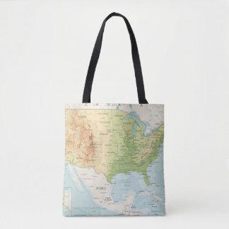 Bolsa Tote Mapa de cor retro do mundo