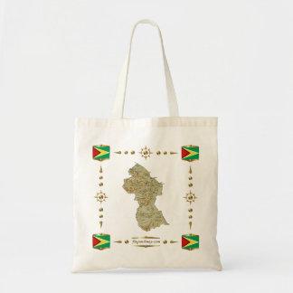 Bolsa Tote Mapa de Guyana + Saco das bandeiras